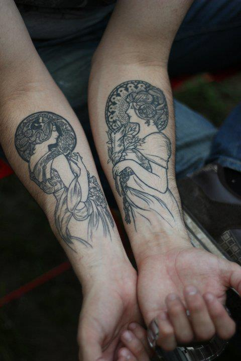 Tattoo of 'Primrose' and 'Feather' by Alphonse Mucha