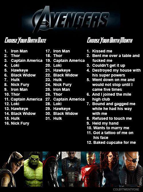 fuckingblacksabbath:  overkiill:  October 4. I'm marrying Loki. Ha!  October 14. I'm marrying Black Widow. Ha!  July 25Iron man bound and gagged me while he had his way with meWell…that's interesting