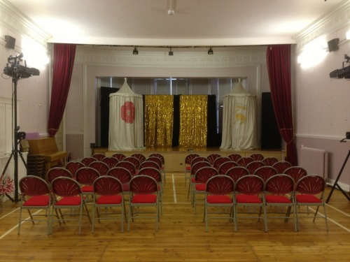 St Thomas Church Hall, Stanhope  A large hall, with a decent stage with lovely Sarah Haynes - Mother to all! The show went well with about 40 in, which Sarah and Julian were very pleased about. All the participants of the afternoon's workshop also were in the audience.