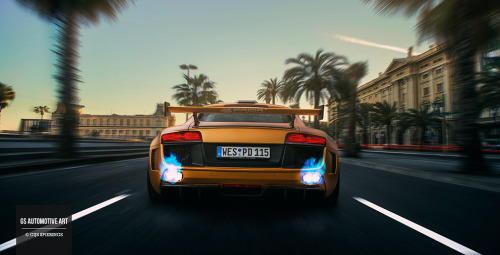 gijsspierings:  Flaming Prior Design Audi R8 GT850 rushing through Barcelona.