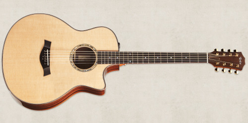 The Baritone 8 string by Taylor is a totally unique guitar. It features a 27 inch scale length allowing it to be tuned to B - B which is a 4th lower than a normal guitar and occupies the frequency range in the middle between a guitar and bass. What is special about this guitar is that the 3rd and 4th strings are doubled up with two extra strings tuned an octave higher giving this low and mysterious instrument a 12 string feel.