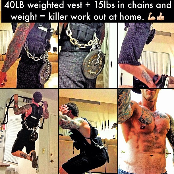 Try a weighted vest! Kills shoulders just wearing it. #me bored #training at home. #love #fitness #fitfam #workout #gym #guyswithtattoos #bodesquad #tattoos #pullups #squats #pushups #tryit #getitin #iphone5 #iphonesia #instahub #igers #follow #webstagram #statigram #strong #motivate #bestoftheday #ignation #fitspo #bodybuilding #abs #muscle #workingout #instafit #noexcuses #ig_fitness_freaks #dedication #staystrong #tagsforlikes #npc #fitspiration #dowork #life #progress #teamnodaysoff #mensphysique