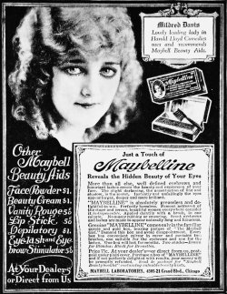 "Mildred Davis pictured on a 1921 Maybelline Cosmetics ad ""Mildred Davis, lovely leading lady in Harold Lloyd Comedies, uses and recommends Maybell Beauty Aids."""