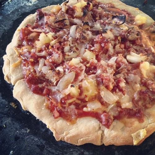 Meat lover's #pizza! Pancetta, sausage, ham, and beef with two cheeses and pineapple. Yum yum. #glutenfree #pizza #meat #health #guiltypleasure #foodporn #instafood #nomnom