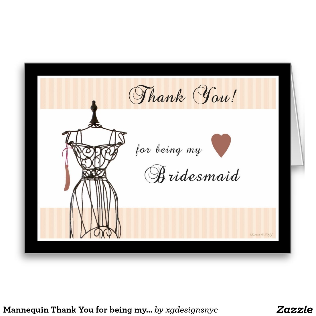 Xg designs nyc mannequin thank you for being my bridesmaid mannequin thank you for being my bridesmaid greeting card 400 made by zazzle greeting cards kristyandbryce Gallery
