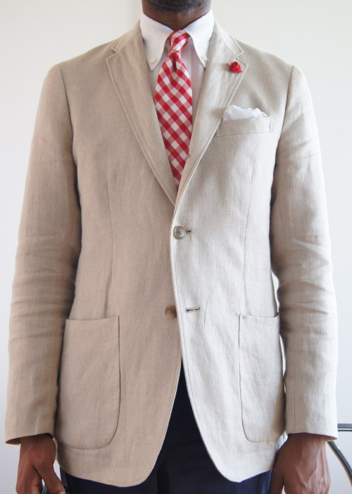 05.21.13 More Linen Uniqlo linen patch pocket sport coat.  Same details as my navy blue one.  This jacket has a balance issue around the waist and hip.  The jacket is lopsided.  The left front panel should come across the front more.  The waist and hips should probably be taken in some as well, but I like the roominess it offers when it's warm and I don't want to get alterations on a cheap Uniqlo jacket.   See more of my sport coats.