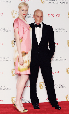 khaleesiboadicea:  Gwendoline Christie and Charles Dance pose in front of the winners boards at the BAFTA TV Awards 2013 at The Royal Festival Hall on May 12, 2013