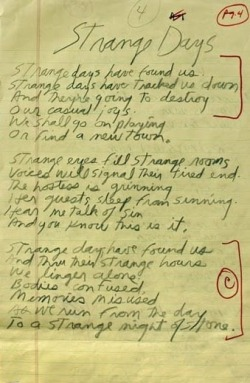 thewallsscreamedpoetry:  Strange Days Handwritten By Jim Morrison