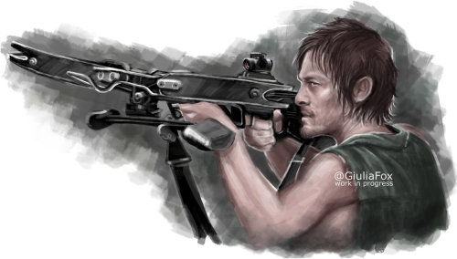 giuliafox:  Work in progress of Daryl Dixon (Norman Reedus) from The Walking Dead.Yeah.. I will finish it soon! :)#DigitalDrawings