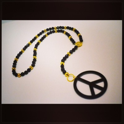 """Peace on Earth"": Black and Gold Beaded Rosary Style Necklace by #TBOG Kensah's @KueenzAndKingz http://bit.ly/17MRhqc"
