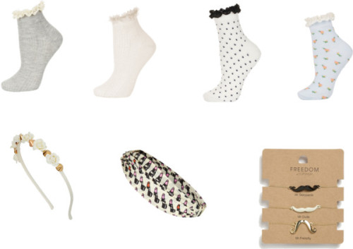 Topshop Accessories Wishlist by delilahsdiaryofstyle featuring short socks My current Topshop accessories wishlist.  I have seen these adorable style socks with lace trim all over Tumblr and the Fashion universe and I want in!  I also love these two headbands, one very feminine and edgy and the other a sort of glam retro head wrap.  Lastly, these darling mustache bracelets would be such a quirky touch to any outfit! Topshop lace ankle socks / Topshop short socks / Topshop short socks / Topshop short socks / Topshop / Topshop hair accessory / Topshop