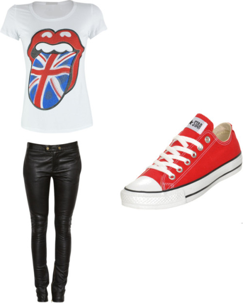 Sem título #291 by uma-directioner featuring a british flag t shirtBritish flag t shirt, $20 / Stretch leather pants / Converse sports shoes