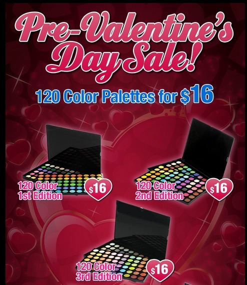 BH Cosmetics Pre-Valentine's Day Sale 120 Color Eyeshadow Palettes are only $16 each!!  These eyeshadows are my go-tos for every type of look.  They are nicely pigmented, easy to blend and are perfect for everyone from beginners to pros.  The best part is that you will have EVERY COLOR you could have ever dreamed of, so you won't have any more excuses not to experiment.  Who needs to fork out $50+ on palettes that only have 12 shades when you could get 120 colors for a fraction of that price? I highly recommend you take advantage of this sale and get a 120 palette of your own… it will save you tons of money on eyeshadow in the future (hello, they last forever!) Shop here at BHCosmetics.com