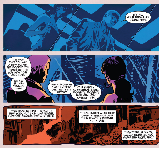 From HAWKEYE #10 by Matt Fraction and Francisco Francavilla.  Digitally speaking this doesn't quite work, because Francavilla's panels want to bleed together so while reading this in Guided View it feels like I'm missing the flow of the page. This point here, the one up top? That's really, really, really true about New York. It's probably really why I didn't want to be there anymore, because it always felt like wheels spinning—the transitory nature of it rather than a stillness, creating a lack of appreciation—stimuli overdoses. Here I appreciate small things, like a one year old make a tour of a living room, making a fire, and even gardening. Sharing ghost stories with my class. It forces you to take a second and appreciate the silent moments rather than the shiny.  Things feel more permanent in the woods rather than Manhattan.