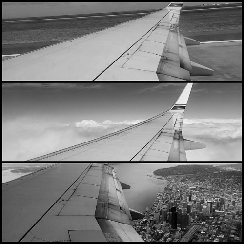 Denver To Seattle. #noirstagram #triptych #flying #wing