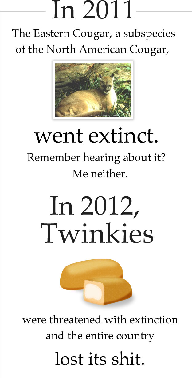 robotmonastery:  vegansmustbestopped:  soycrates:  Endangered Twinkies.  The sign of a truly healthy, evolved, and intelligent society that can see past its own nose.  yo, twinkies are shit.  Caring about twinkies and not cougars: human supremacy. And this pretty much sums up why I'm an anti-civilization anarchist.