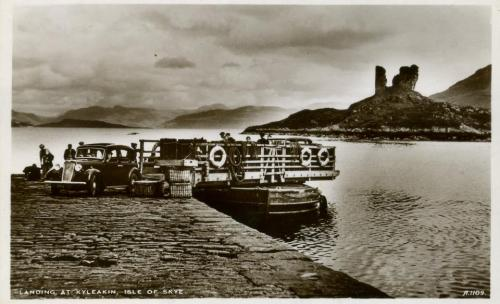 Before the epic bridge, long before Caledonian MacBrayne and their modern ferries there was this small ferry crossing from Kyle of Lochalsh on the mainland (meaning 'strait of the foaming loch' in Gaelic) to Kyleakin Skye.  Look at the wicker traveling hampers on the dock and the gleaming car - what an adventure it must have been.   (Photo source: Elgol and Torrin Historical Society)