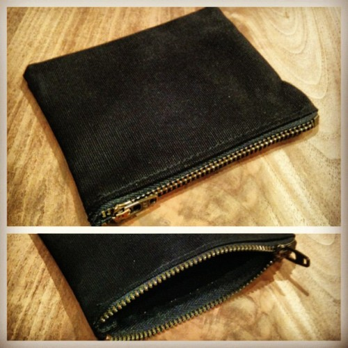 "…custom black cotton duck ""Gleaming the Cube"" zipper wallet for @akmos! #honed"