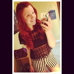 dazedandconfused—:  #picstitch #ootd #wavycurls #ginger