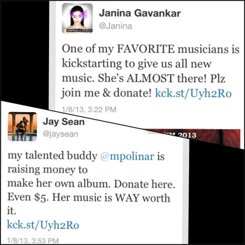 "Awesome Kickstarter lovin from Janina (""True Blood"" actress - she's ""shapeshifter"") and Jay Sean today! Random but definitely cool! ❤   Link: http://kck.st/Uyh2Ro"