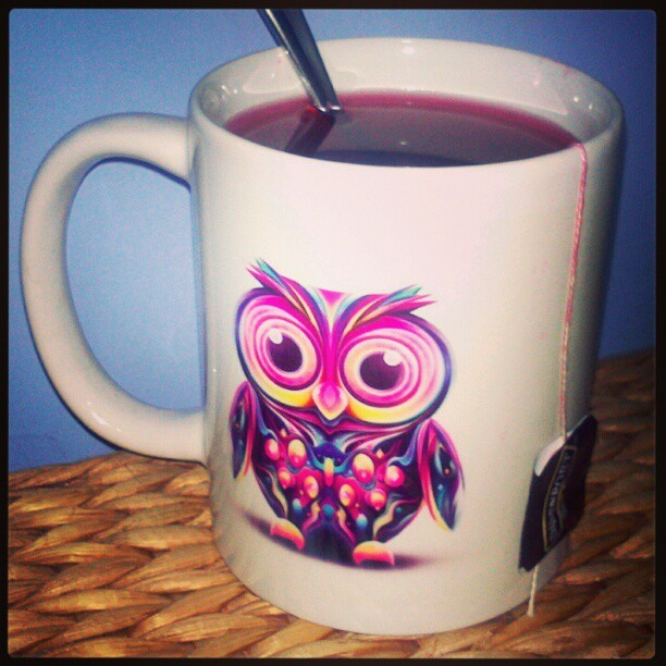 """You can't go to bed without a cup of tea…"" #BonneNuit #Sweetdreams #sleeptight #princess #relax #TeaTime #raspberry #newcup #owl #design #cool #loveit #night"