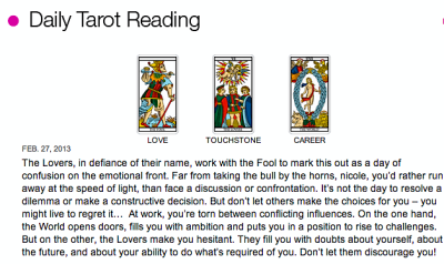 Daily Tarot Reading - 2.27.13 The Love portion always fucks with me. Haha.