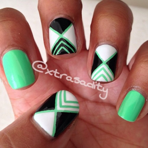 #notd pretty awesome striping tape #mani 💚💚💚💚 #nails#nailporn#nailgasm#instanail#nailart#nailpolish#polish#ongles#vernis#beauty#glam#nailstagram