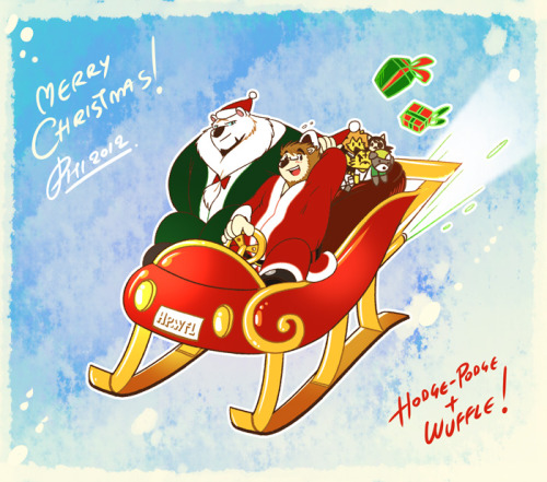 Theo from Hodge-Podge Comic and the Mighty Joe on sleigh. Merry Christmas!!!  And get ready for the special 6 pages ofWuffle's Christmas comic tonight! XD  - Piti Yindee  Theo and Hodge-Podge characters are (c) Dai