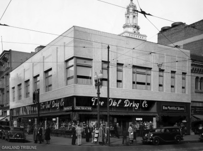 Exterior of Delger Building at 13th and Broadway Streets in Oakland home to Owl Drug and New York Hat Stores circa January 1934. The building just peeking behind is City Hall. (Mose Cohen / Oakland Tribune)