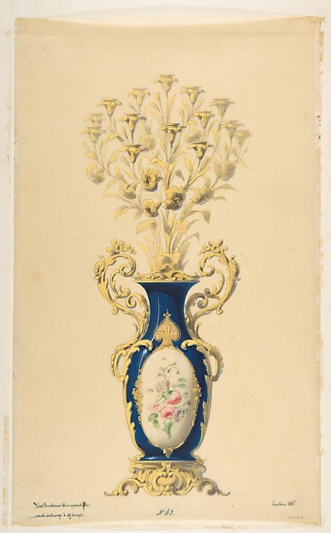 lesrosiers:  Design for a Porcelain Candelabra with Nine Branches French, 19th century