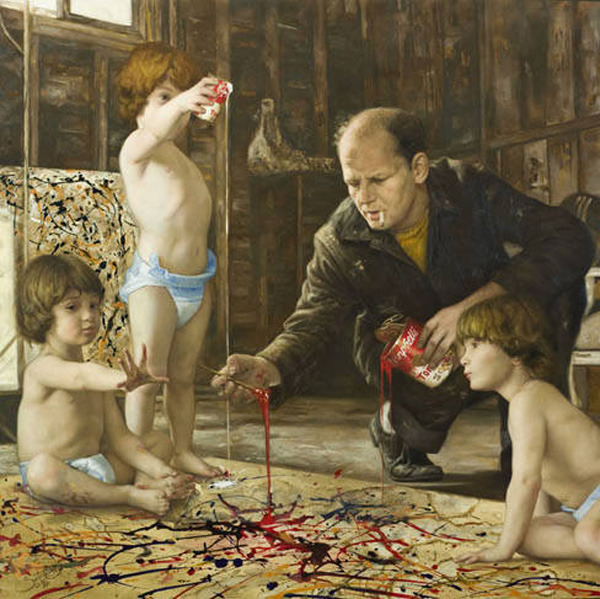 "indefenseofart:  Art History remixed— Cuban-American artist Cesar Santos's painting series, ""syncretism"" mixes iconic work by masters from Renaissance to Modernism: including works in the style of De Kooning, van Gogh, Goya, Michelangelo, Rothko and more."