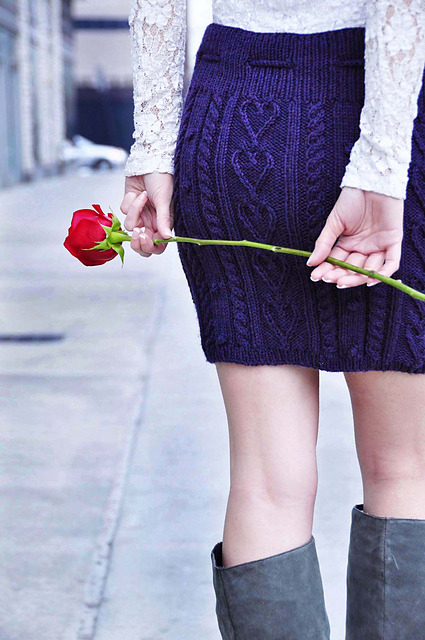 "Heart Me Forever cable knit skirt by Lauren Riker Preview the rest of her ""Follow Your Heart"" Valentine's Day-inspired knitting patterns here…they're pretty great."