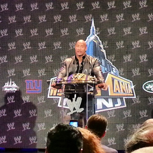 @TheRock is here at the #wrestlemania press event. He's talking about his #wwe debut at Madison Square Garden and more. Fella is waaaaay charming. #wrestling