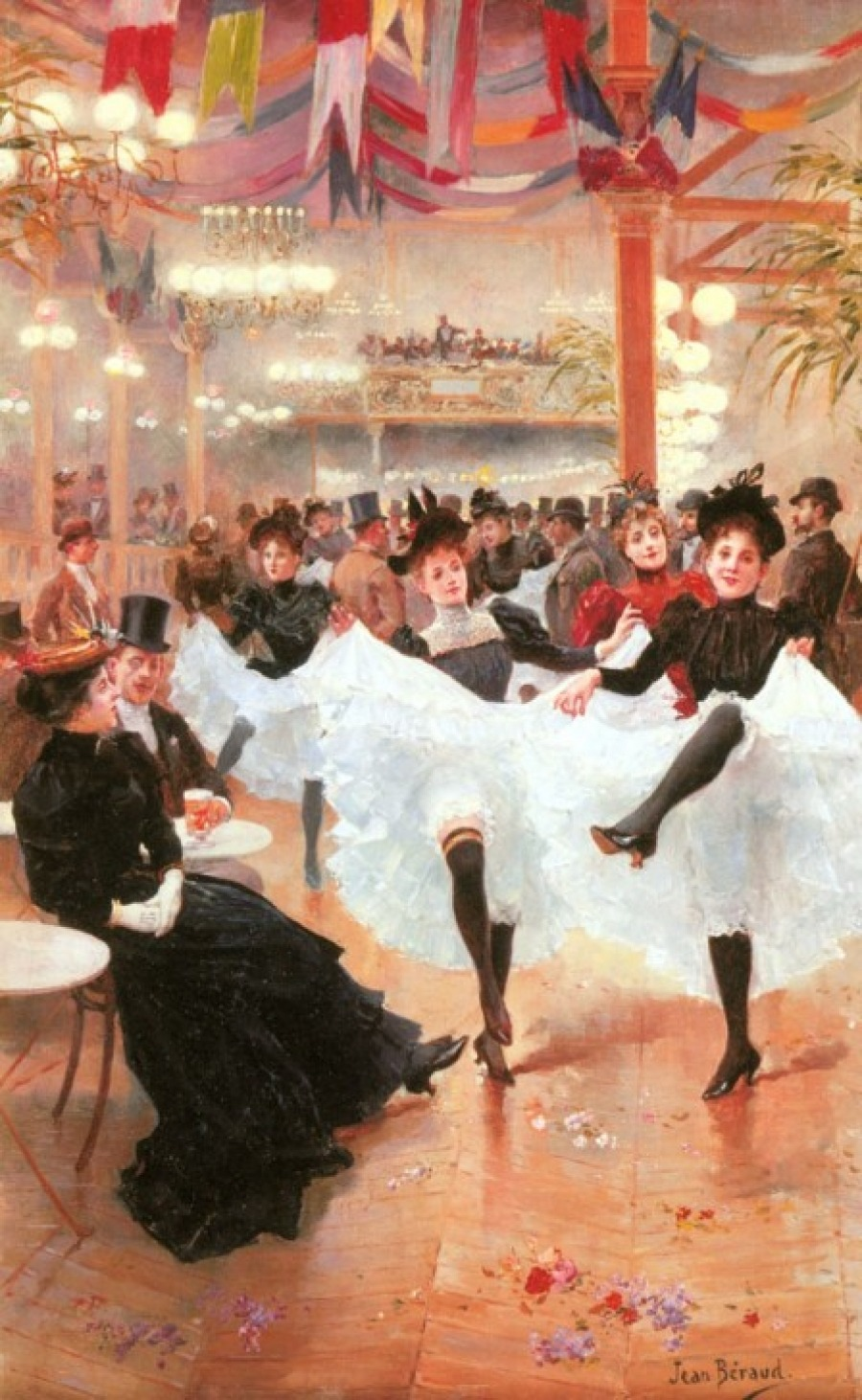 Jeune Le Cafe de Paris. Jean Béraud (French, Impressionism, 1849–1935). Oil on canvas.  Béraud had an exceptional eye for detail, enhanced by the advent of photography. This vision imbued his portrayals of daily Parisian life with subtlety and elegance. He remained in his beloved, flamboyant Belle Époque city while his Impressionist contemporaries moved to the country. Béraud would often sequester himself in a taxicab to paint candid images of unsuspecting passersby and mundane, everyday activities.