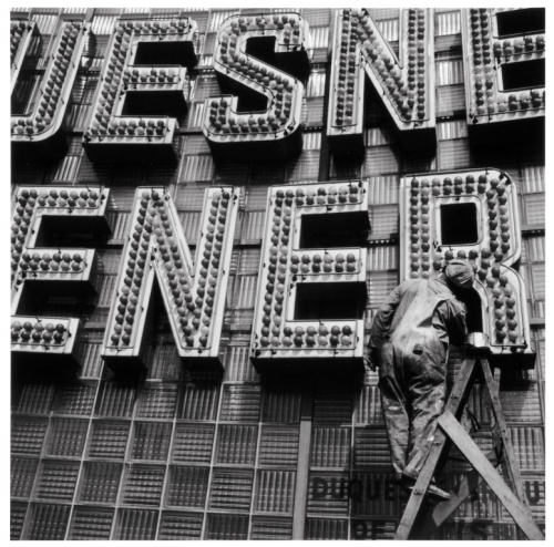 Downtown Pittsburgh, Duquesne Pilsener Sign, 1950 Elliott Erwitt
