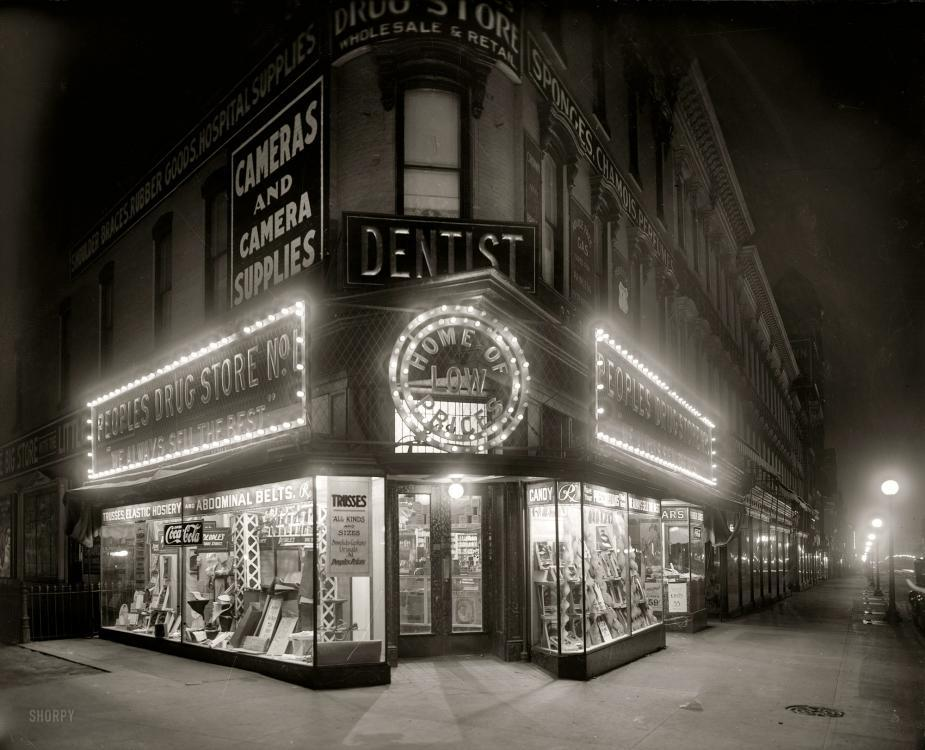 People's Drug Store, Seventh & K, Washington, D.C., circa 1921.