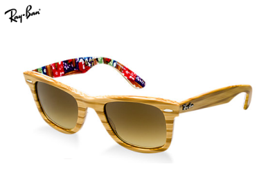 Sunglass Hut has the freshest take we've seen on wayfarers—wood grain with a punchy print inside. They're so California-cool, we can barely stand it.
