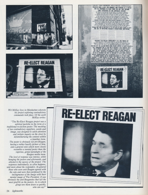 An interesting and obscure poster project for Reagan's Presidential re-election campaign by Wit McKay, scanned from the magazine Lightworks, issue number 17, Birmingham, Michigan, 1985.