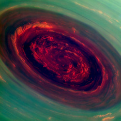 Saturn's north-pole hurricane close up by europeanspaceagency on Flickr.Via Flickr: Spectacular close-up view of Saturn's north-pole hurricane, as seen by the international Cassini spacecraft, revealing the intricate detail of cloud formations in this dynamic feature. The images were captured by Cassini from a distance of about 419 000 km from Saturn on 27 November 2012, and are the first close-up views of this storm. Image scale is 2 kilometres per pixel. The images were taken with the Cassini spacecraft narrow-angle camera using a combination of spectral filters sensitive to wavelengths of near-infrared light. The images filtered at 890 nanometres are projected as blue. The images filtered at 728 nanometres are projected as green, and images filtered at 752 nanometres are projected as red. In this scheme, red indicates low clouds and green indicates high ones. The eye of the hurricane spans about 2000 km and the clouds at the outer edge are travelling at 540 km/h. The hurricane shares striking similarities to those seen on Earth: both have an eye with no clouds or very low clouds at the centre, high clouds forming an eyewall, with other high clouds spiralling around the eye, and an anticlockwise spin in the northern hemisphere. Credits: NASA/JPL-Caltech/SSI