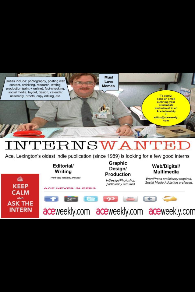 Interviewing now for Summer 2013 and Fall 2013 Ace MultiMedia Internships. Must Love Memes. Must Love GIFs. Budding Art Directors, Writers, Editors, Web Editors, WebSite Producers, App Developers encouraged to apply.  Media, Social Media, New Media tracks. Enrolled in…Web, Graphic Design, English, Journalism, Library Science?