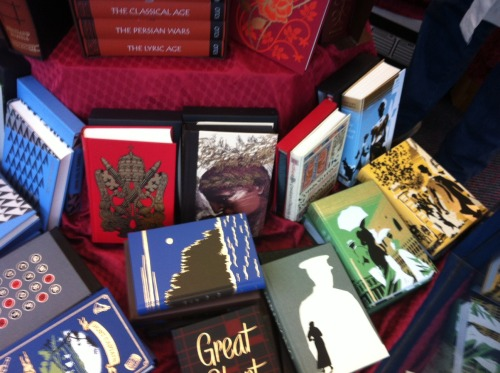 We have lots of classic books in Folio editions. Some are in the window, but there are many other piles of them all around the shop.