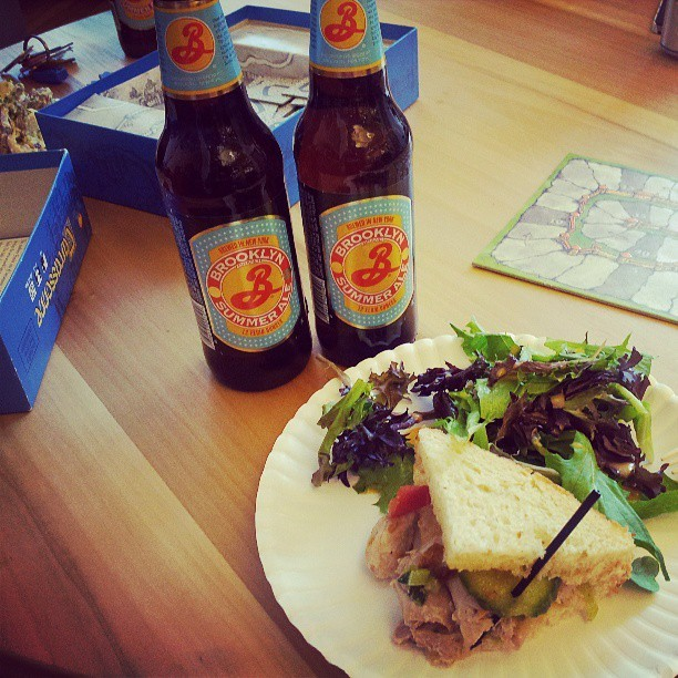 Work is hard. #beer #sandwiches #Carcassonne (at Etsy Inc)