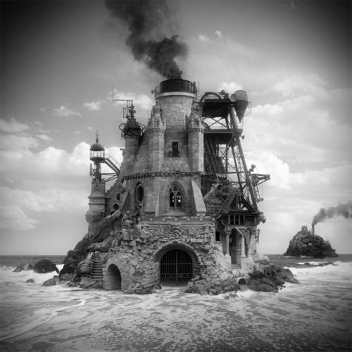 Without the use of a camera Portland-based artist Jim Kazanjian sifts through a library of some 25,000 images from which he carefully selects the perfect elements to digitally assemble mysterious buildings born from the mind of an architect gone mad. While the architectural and organic pieces seem wildly random and out of place, Kazanjian brings just enough cohesion to each structure to suggest a fictional purpose or story that begs to be told. You can see much more of his work over on Facebook, and prints are available at 23 Sandy Gallery.