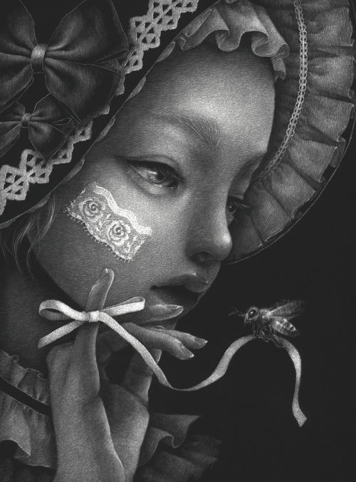 nekotack:蜜よりリボン2021 Scratchboard 194×143mm©Meguro Miro  Website / Twitter / Instagram / Facebook #modern art