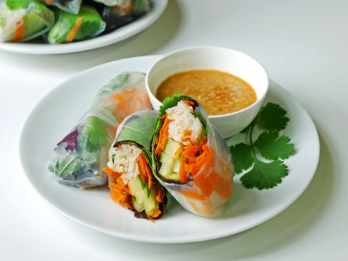 Spring Rolls with Peanut Sauce with recipe (link)