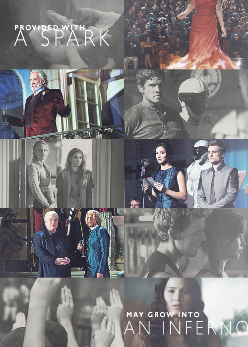 """Katniss Everdeen, the girl who was on fire, you have provided a spark, that left unattended, may grow into an inferno that destroys Panem."""