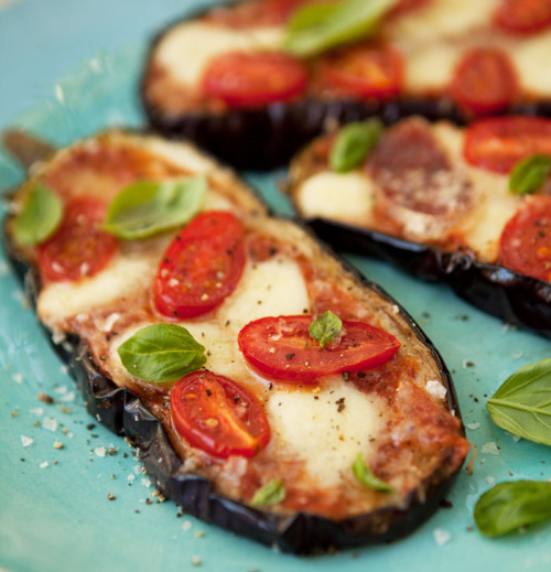 "baked eggplant ""pizzas"" not mine but looks pretty easy and gluten free!"