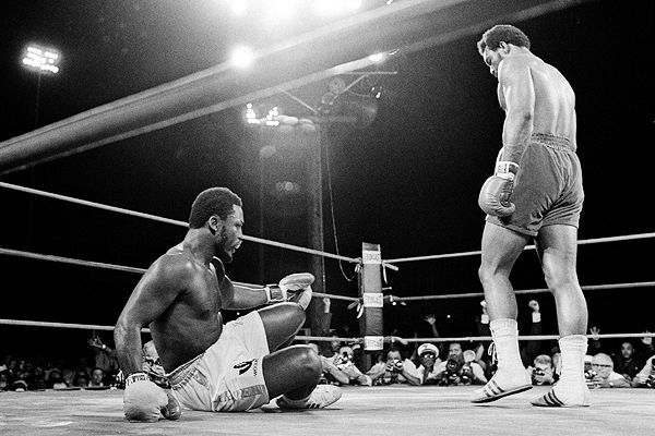 bestofboxing:  January 22, 1973: George Foreman defeats Joe Frazier by TKO in round 2. Frazier was knocked down six times in the fight before the referee stepped in and stopped the bout