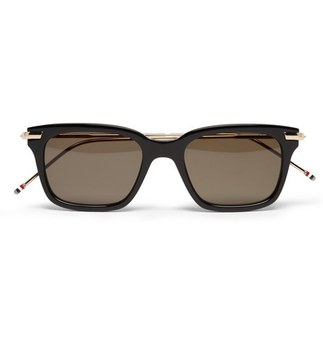 golden-noise:  Thom Browne 12-Karat Gold and Acetate Square-Frame Sunglasses