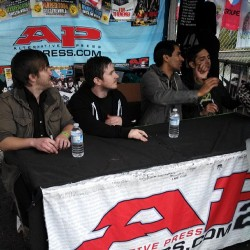 Signing right now at the AP tent! @savesthedayband!